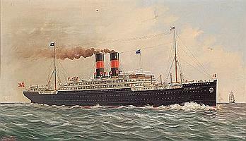 "Ferdinand Worms (American, 1859-1939) The S.S. ""Frederick VIII"" of the Scandinavian American Line in calm seas 28 x 48 in. (71.1 x 122 cm.)"