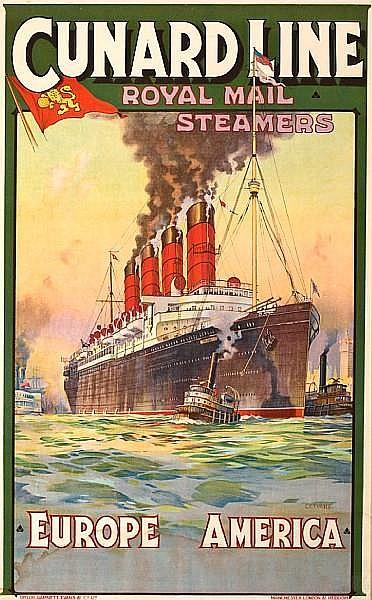 Charles Eddowes Turner (British, 1883-1965); Cunard Line - Royal mail Steamers - Europe America