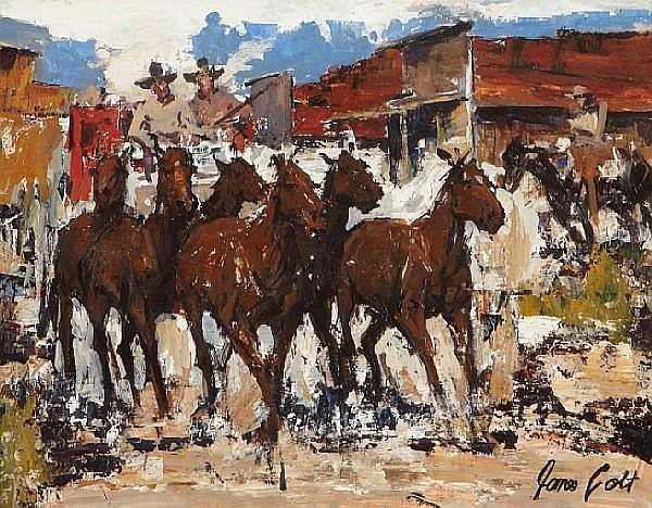 James Colt (American, 1922-2005) Stagecoach Headin' Out 13 x 16 1/2in