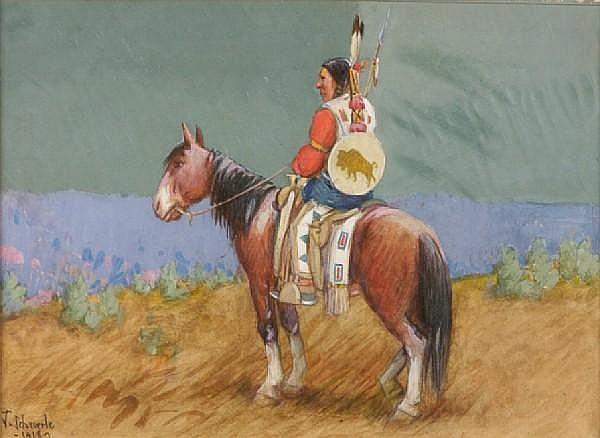 Joseph Scheuerle (American, 1873-1948) Indian on horseback 9 1/2 x 13in