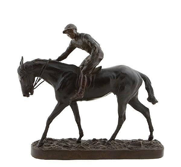 A French patinated bronze equestrian group: La Veine