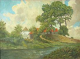 Kathryn Hail Travis (American, 1894-1972) A farm near the river's edge, 1929 19 3/4 x 27 3/4in
