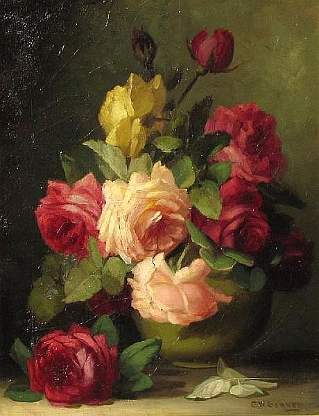 George W. Seavey (American, 1841-1916) A still life of roses in a vase 18 x 14in