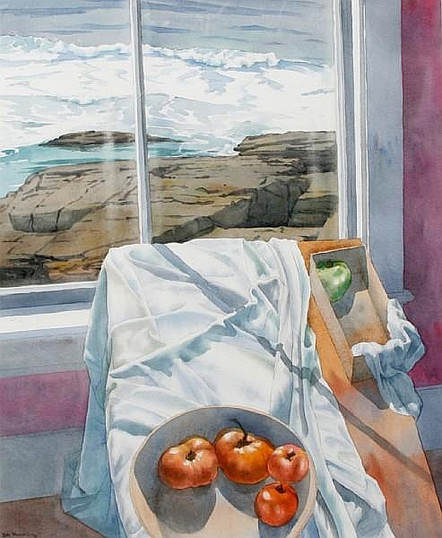 Dewitt (Clarion) Hardy (American, born 1940) Seascape with tomatoes, 1989 27 1/2 x 21 1/8in