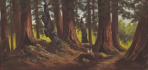 Frederick von Luerzer (German, 1858-1917) Figures in the redwoods, 1905 11 3/4 x 24in