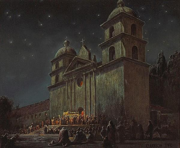 Clarkson Dye (American, 1869-1955) Evening ceremony, Santa Barbara Mission 20 x 24in