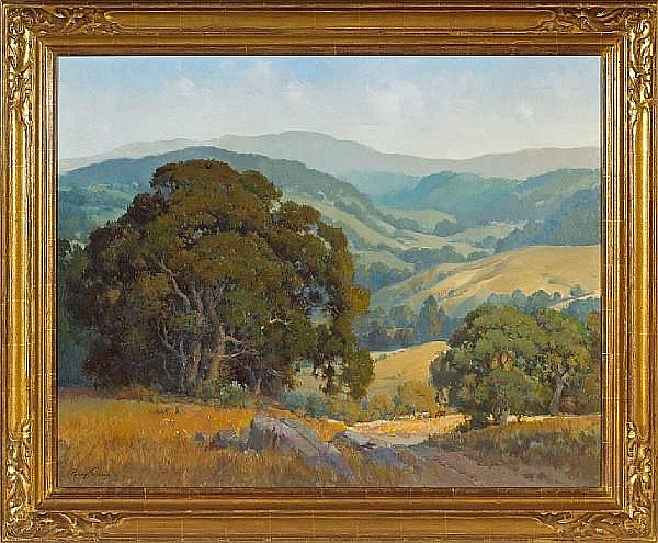 Percy Gray (1869-1952) Cattle grazing amongst Marin oaks 30 x 38in