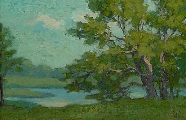 Frank Tolles Chamberlin (American, 1873-1961) Tranquility 6 3/4 x 10 1/2in