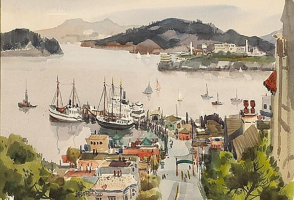 Jade Fon (American, 1911-1983) Fisherman's Wharf with Alcatraz in the distance sight: 14 3/4 x 21 1/4in