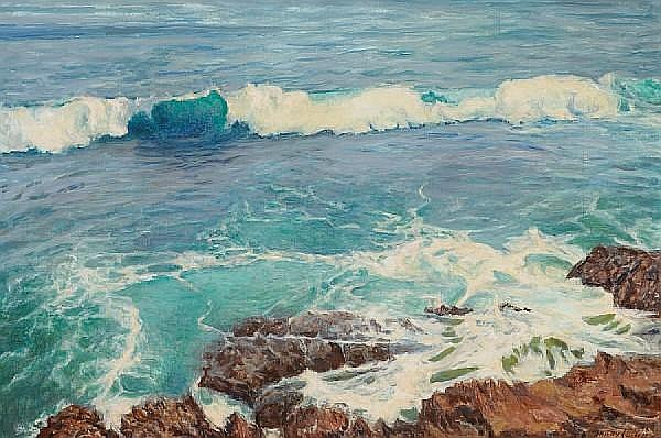 Shirley Marie Russell (American, 1886-1985) Waves on a rocky coast, 1973 28 x 42in