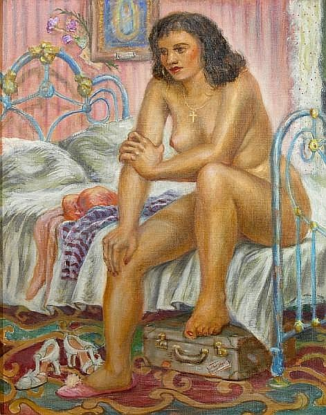 Lloyd Lozes Goff (American, 1917-1982) Contemplation (The Morning After) 30 x 24in