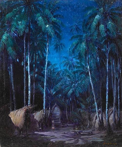 Ellis Silas (British, 1883-1972) Tropical Blue Nocturne 24 x 20in