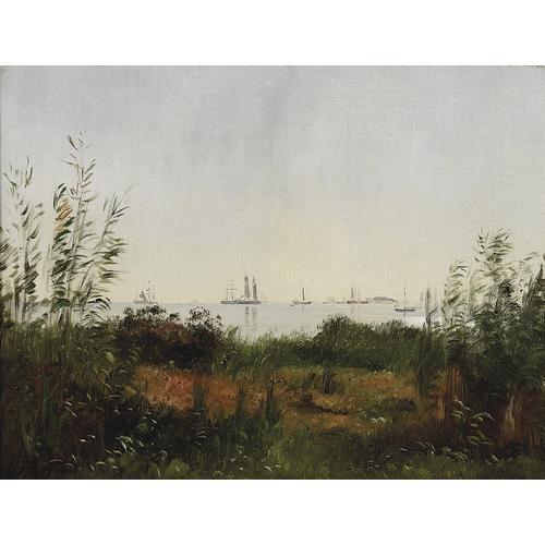 """Carl Frederick Aagaard, """"A Coastal Scene"""", oil on canvas"""