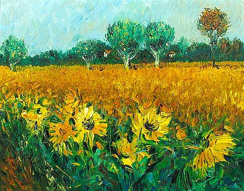 Duane Alt (American, born 1935) Sunflowers in a Field; Sunflowers near a Window (2) first 16 x 20in second 20 x 16in