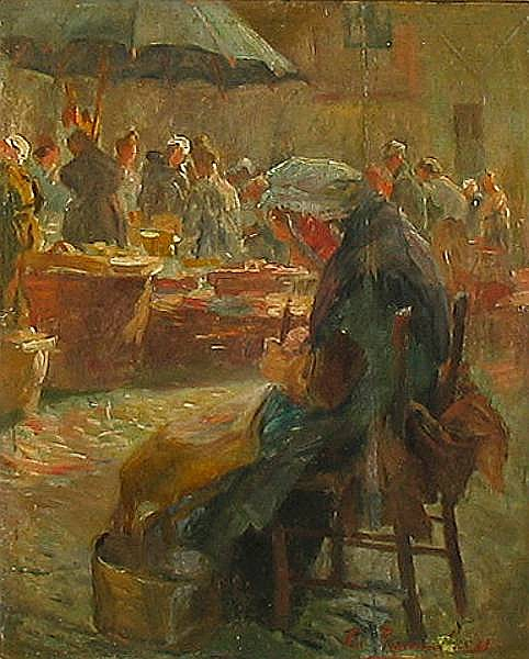 Emile Rommelaere (Belgian, 1873-1962) A market scene with busy stalls 10 3/4 x 8 5/8in