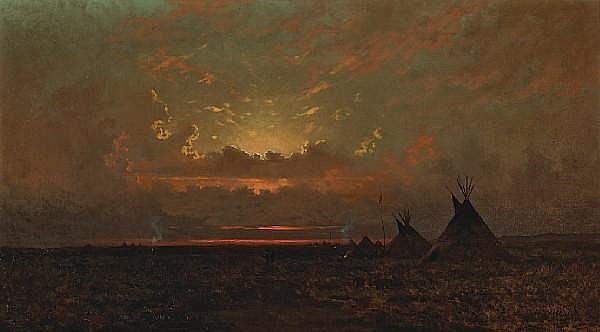 Jules Tavernier (1844-1889) Indian Encampment 20 x 36in