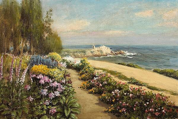 William Adam (British, 1846-1931) Flower Walk, Lovers Point, Pacific Grove 20 x 29 3/4in