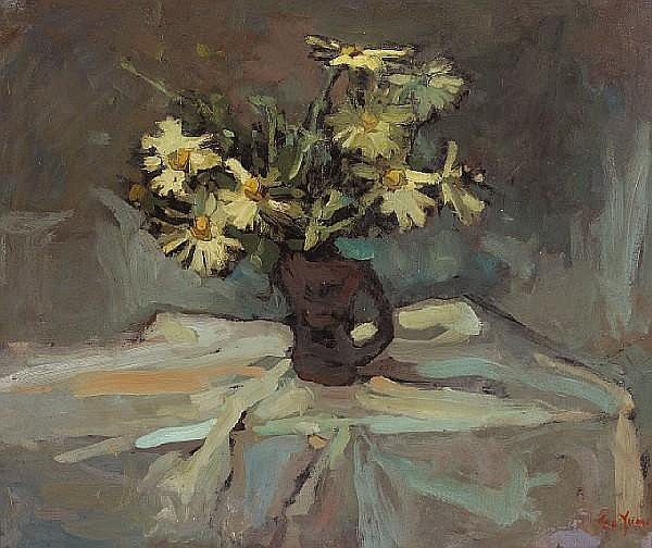 Si Chen Yuan (1911-1974) A Still Life with Daisies 25 x 30in