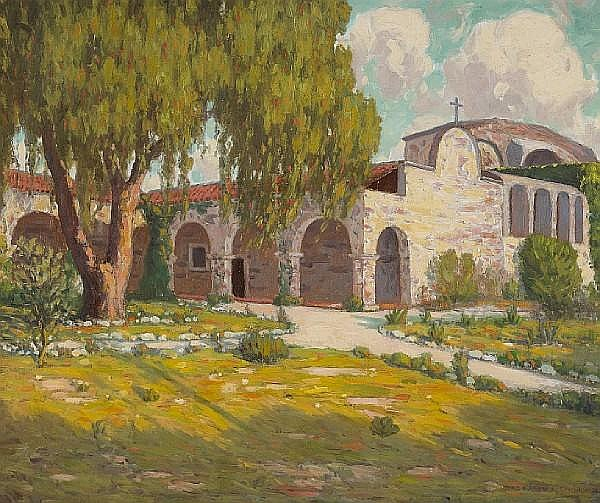 Charles L.A. Smith (American, 1871-1937) San Juan Capistrano Mission, 1931 25 x 30in