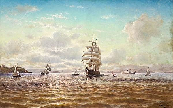 William Alexander Coulter (1849-1936) Ships Sailing in the San Francisco Bay with Fort Point in the Distance, 1907 53 x 84in