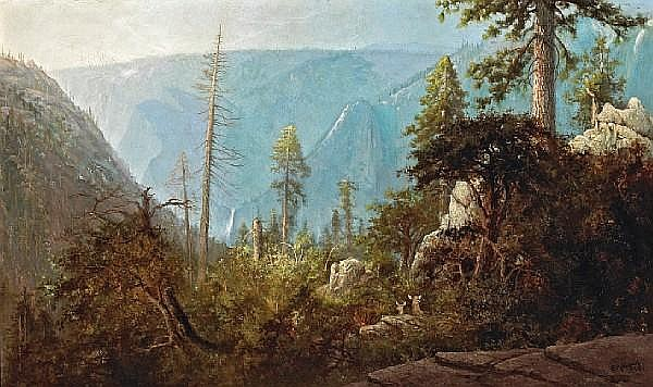 Charles Dormon Robinson (1847-1933) Deer in an Expansive Landscape, Yosemite, 1884 30 x 50in