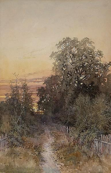 Lorenzo P. Latimer (American, 1857-1941) Country Path, 1893 sight 29 x 19in