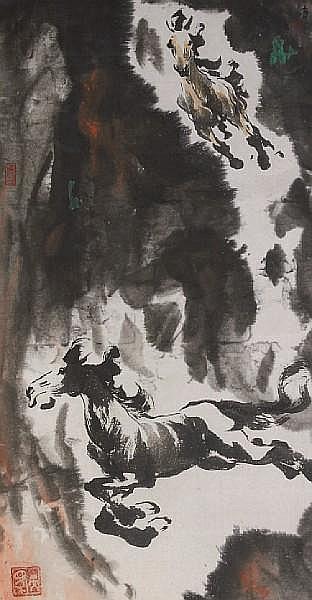 Ye Zuibai (1909-1999) Two Horses