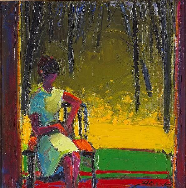 Henrietta Berk (American, 1919-1993) Summer Afternoon 16 x 16in