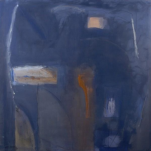 Albert Ràfols Casamada (Spanish, born 1923) Blau antic, 1990 76 3/4 x 76 3/4in (195 x 195cm) unframed