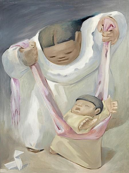 Jean Charlot (French/American, 1898-1979) Untitled (Mother and child), 1938 40 3/8 x 30 5/16in (102.5 x 77cm)