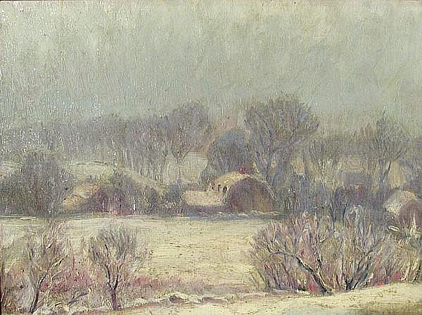Platt Hubbard (American, 1889-1946) Winter landscape, 1923 12 x 16in