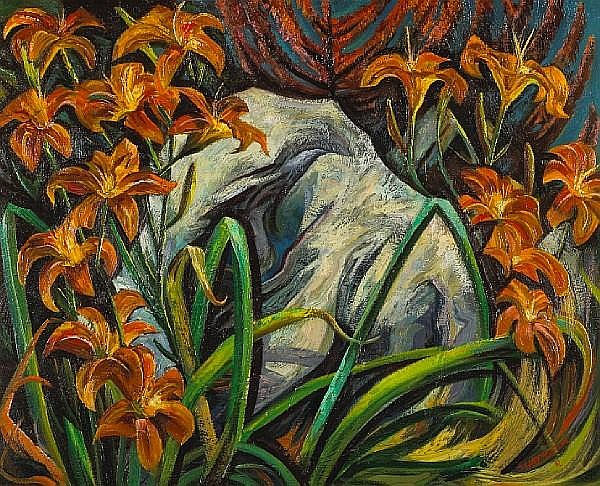 Charles Frederick Surendorf (American, 1906-1979) Untitled (Lilies and rock), 1962 24 x 30in