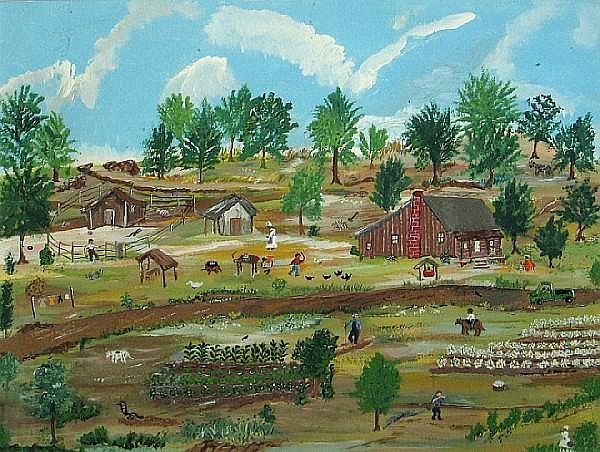 Sarah Albritton (American, born 1936) Working on the farm 18 x 24in