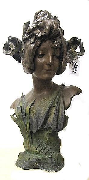 An Art Nouveau patinated white metal bust of a beauty: Iris