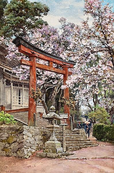 Alfred William Parsons (British, 1847-1920) Cherry blossoms before a temple near Yoshino, Japan 19 1/2 x 13in (49.5 x 33cm)