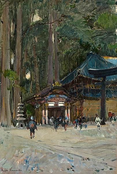 Louis-Jules Dumoulin (French, 1860-1924) Entrance to Nikko Temple 21 1/2 x 15 1/4in (54.6 x 30cm)