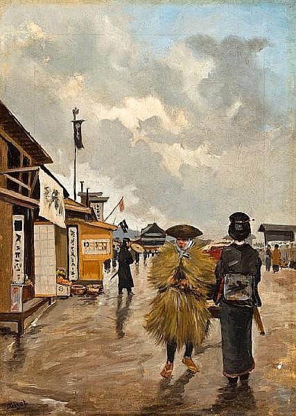 Georges Ferdinand Bigot (French, 1860-1927) Market day in Japan 15 x 10 5/8in (38 x 27cm)