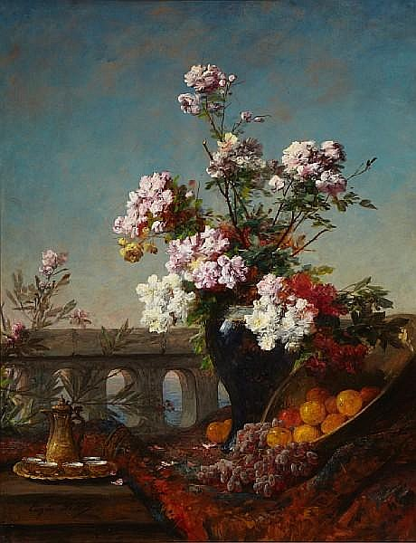 Eugene Petit (French, 1839-1886) Flowers in an urn with fruit by a bridge 79 x 62 1/4in (200.7 x 158.1cm)