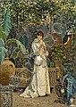 Cesare Tiratelli (Italian, 1864-1933) A lady in her garden 12 3/4 x 9 1/4in (32.4 x 23.5cm), Cesare Tiratelli, Click for value