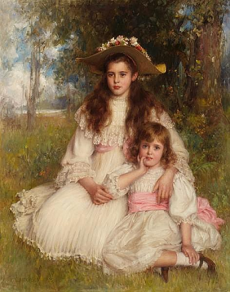 Robert Edward Morrison (British, 1852-1925) A portrait of Joyce and Monica Shaw 52 1/4 x 41in (132.7 x 104.2cm)