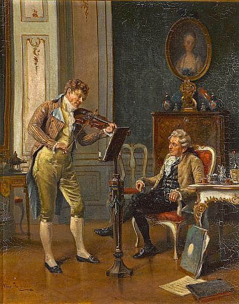 Vincent Stoltenberg Lerche (Norwegian, 1837-1892) A musical serenade 14 1/2 x 11 3/4in (36.8 x 30.2cm)