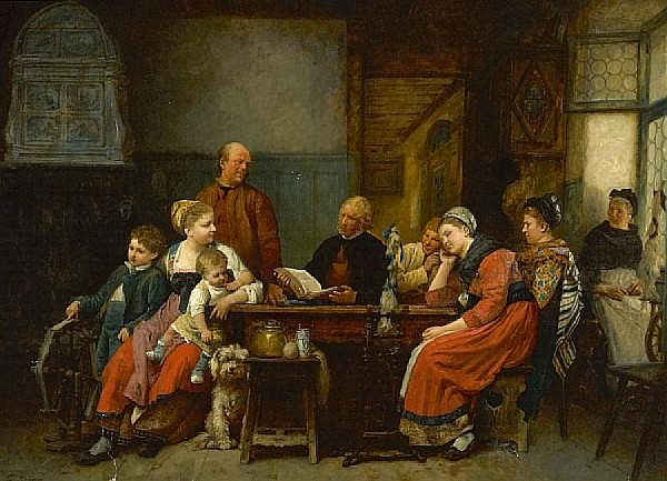 Gustave Brion (French, 1824-1877) A family gathering 35 1/2 x 47 1/2in (90.2 x 120.6cm)