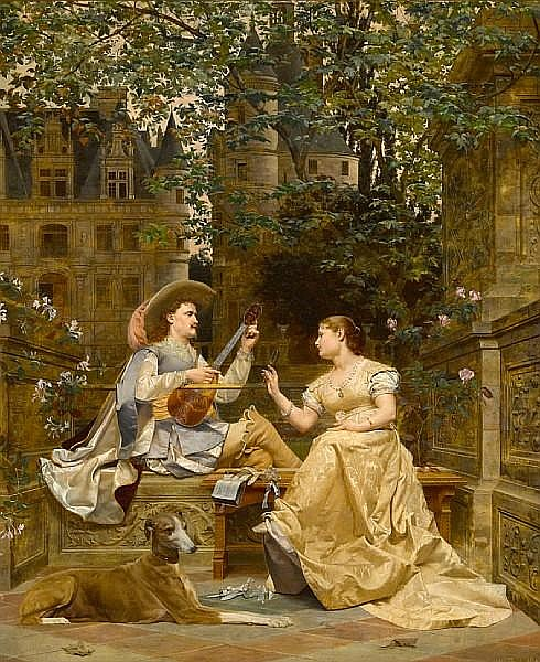 Paul Alphonse Viry (French, 1832-1913) The music lesson 30 x 24 1/4in (76.2 x 61.6cm)