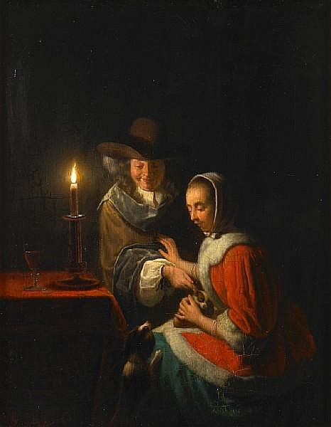Circle of Frans van Mieris the Elder (Leyden 1635-1681) A candlelit interior with a couple and their dogs 9 3/4 x 7 7/8in (24.8 x 19.7cm)