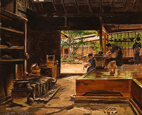 Georges Ferdinand Bigot (French, 1860-1927) Interior of a Japanese kitchen at Kikonya-Shisendyi, Idzu Province, Japan 13 1/4 x 16 1/4in (33.5 x 41.5cm)