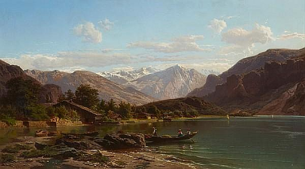 Jean Francois Xavier Roffiaen (Belgian, 1820-1898) An alpine lake with figures in a boat in the foreground 30 3/4 x 54in (78.1 x 137.2cm)