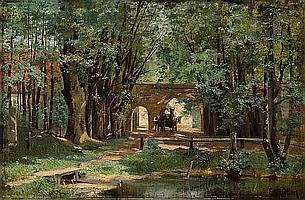 Elisabeth von Eicken (German, 1862-died circa 1938) A wooded landscape with a wagon and driver near a gate 15 x 22 1/2in (38.1 x 57.2cm) unframed