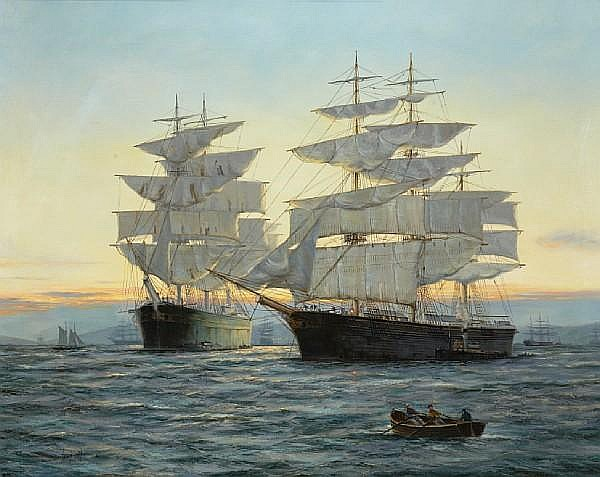 Henry Scott (British, 1911-2005) Sundown - San Francisco Bay: the great American clipper 'Benjamin F. Packard' and the British wool clipper 'Pericles' 39 1/2 x 49 1/2in (100.3 x 125.8cm)