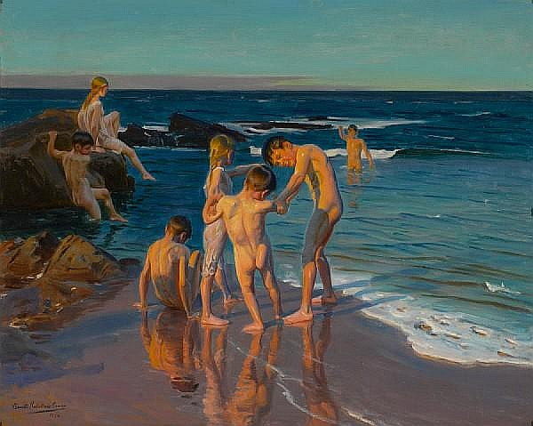 Benito Rebolledo Correa (Chilean, 1881-1964) His first swim 32 x 40in (82 x 101cm)