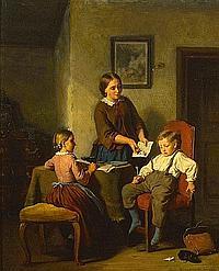 Hanno Rhomberg (German, 1820-1869) The naughty pupil 17 3/4 x 14 1/2in (45.1 x 36.8cm)